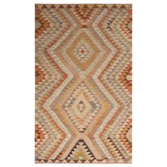 Vintage Midcentury Afyon Cream-Pink and Blue Wool Kilim Rug, Multi-Color Accent