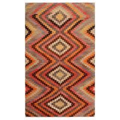 Vintage Midcentury Afyon Diamond Orange Black and Blue Wool Kilim Rug