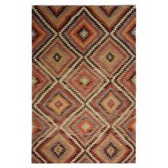 Vintage Midcentury Afyon Geometric Multi-Color Wool Kilim Rug, Diamond Pattern