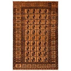 Vintage Midcentury Baluch Geometric Beige Brown Wool Persian Rug