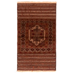 Vintage Midcentury Baluch Geometric Brown and Red Wool Persian Rug