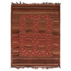 Vintage Midcentury Baluch Geometric Red and Brown Persian Wool Rug