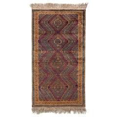 Vintage Midcentury Baluch Runner, Brown and Blue Persian Rug