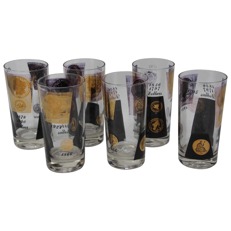 Vintage Midcentury Barware Highball Glasses 1960s Gold Presidential Coins