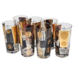 Vintage Midcentury Barware Rocks Glasses 1960s Gold Presidential Coins