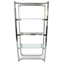 Vintage Midcentury Baughman Sculptural Chrome and Glass Étagère Bookcase Shelf