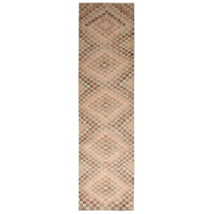 Vintage Midcentury Beige and Pink Wool Rug with Diamond Pattern
