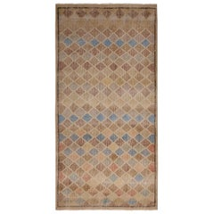 Vintage Midcentury Beige-Brown and Blue Geometric Wool Rug with Colorful Accent