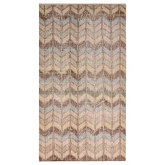 Vintage Midcentury Beige-Brown and Blue Wool Rug, Geometric Chevron Pattern