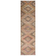 Vintage Midcentury Beige-Brown and Pastel Wool Rug with Diamond Pattern