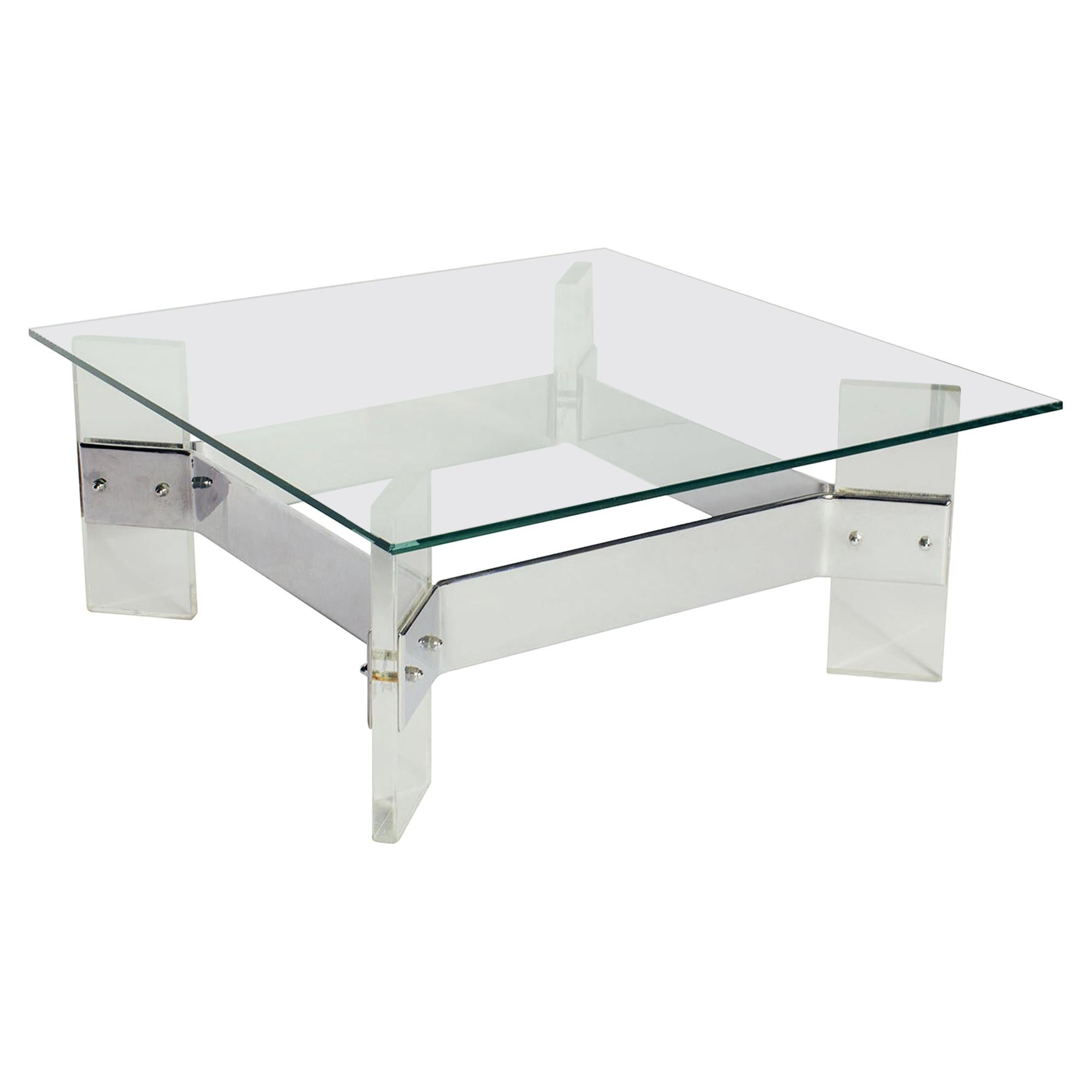 Vintage Midcentury Belgian Lucite Steel Coffee Table with Glass Top
