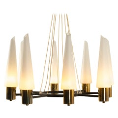 Vintage Midcentury Brass Chandelier with Opal Glass Shades, 1960s