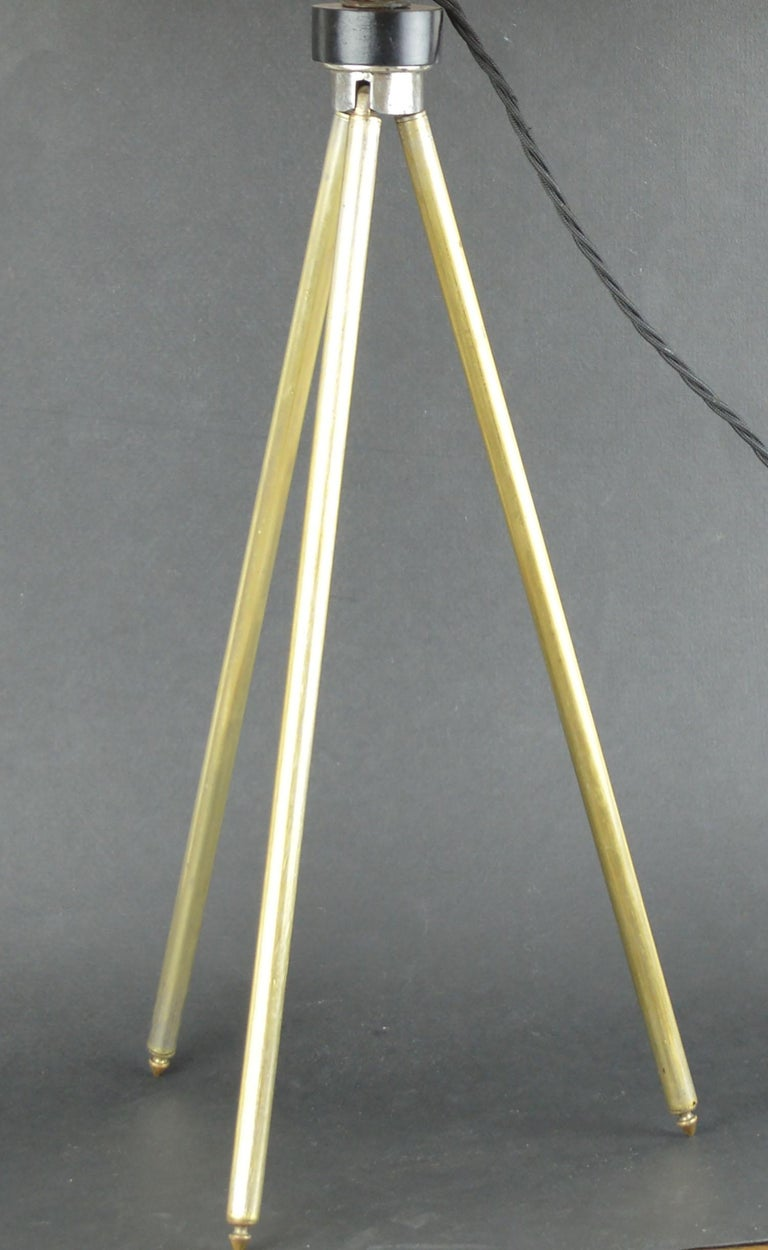 Super brushed brass tripod table lamp. Yellow velvet shade