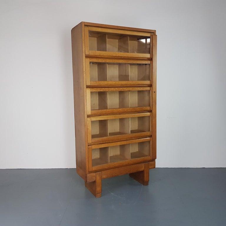 Vintage Midcentury British Staverton Glass Fronted Bookcase
