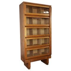 Vintage Midcentury British Staverton Glass Fronted Bookcase Cabinet