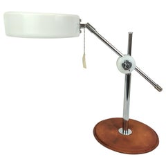 Vintage Midcentury brown Leather Chrome Atelje Lyktan Desk Lamp, Sweden
