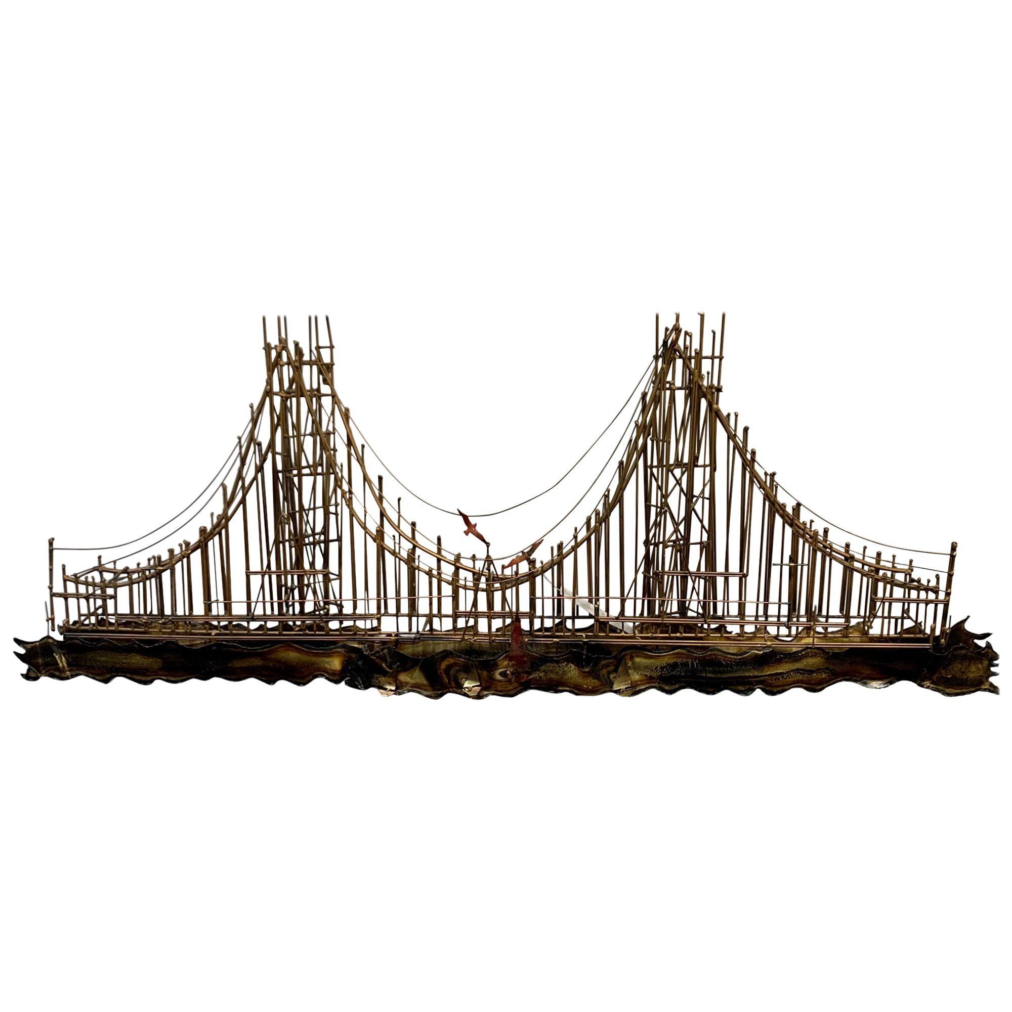 Vintage Midcentury Brutalist Metal Sculpture, Wall Art of a Bridge
