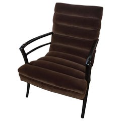 Vintage Midcentury Chocolate Velvet Channeled Modern Channel Lounge Chair