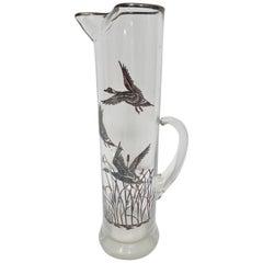 Vintage Midcentury Cocktail Glass Martini Jug Pitcher Barware Silver Gilded