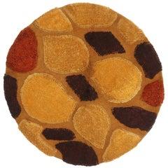 Vintage Midcentury Continental Golden Yellow Wool Circle Rug