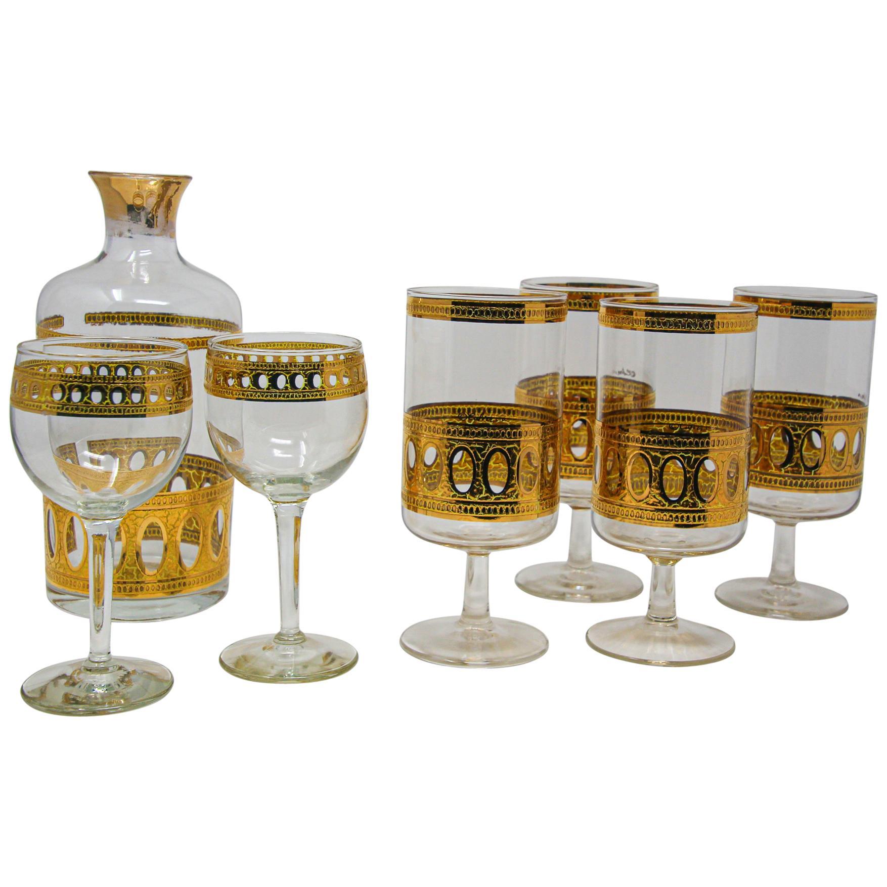 Vintage Midcentury Culver Antigua Barware Cocktail Set
