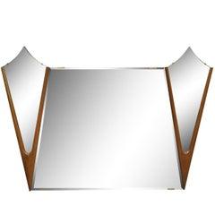 Vintage Midcentury Danish Modern Large Diamond Walnut Triple Mirror