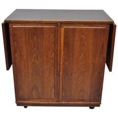 Vintage Midcentury Danish Modern Teak Drop-Leaf Rolling Bar Cart Cabinet