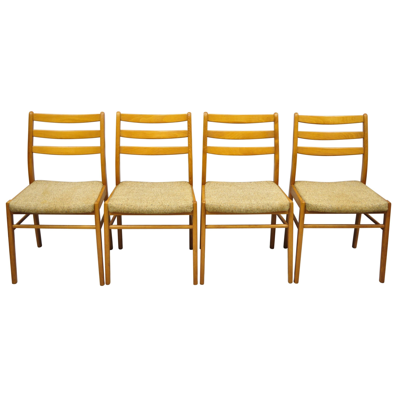 Vintage Midcentury Danish Modern Teak Ladderback Dining Room Chairs, Set of 4