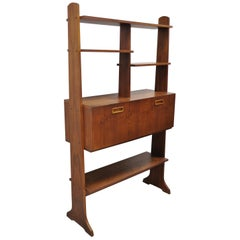 Vintage Midcentury Danish Modern Teak Wall Unit Desk Bookcase Display Cabinet
