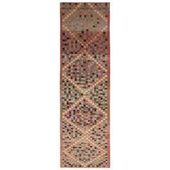 Vintage Midcentury Diamond Pattern Pink and Blue Wool Rug