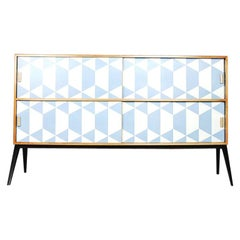 Vintage Midcentury Dual Walnut Sideboard with Hand Painted Blue Pattern, 1960s