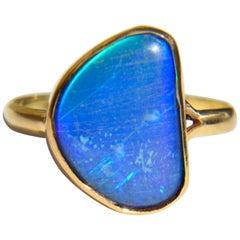 Vintage Midcentury Era Blue Boulder Opal 14 Karat Gold Freeform Ring