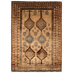 Vintage Midcentury Gabbeh Beige Brown and Blue Wool Persian Rug