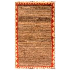 Vintage Midcentury Gabbeh Geometric Beige-Brown and Red Wool Persian Rug