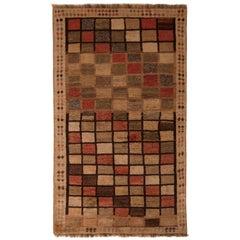Vintage Midcentury Gabbeh Geometric Beige-Brown Wool Persian Rug