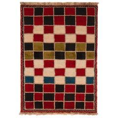 Vintage Midcentury Gabbeh Geometric Red Wool Persian Rug