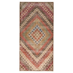 Vintage Midcentury Geometric Beige and Red Wool Runner with Multi-Color Accents