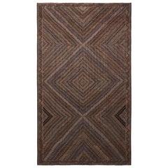 Vintage Midcentury Geometric Beige Brown and Blue Wool Kilim Rug