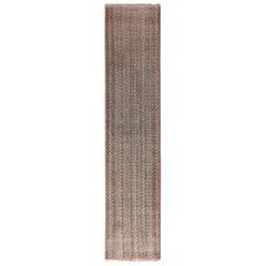Vintage Midcentury Geometric Beige-Brown Pink and Green Wool Runner
