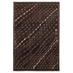 Vintage Midcentury Geometric Beige-Brown Purple/Green Wool Striped Kilim Rug