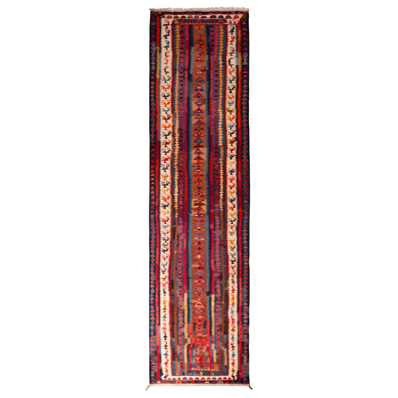 Vintage Midcentury Geometric Brown Blue and Red Wool Persian Kordi Runner