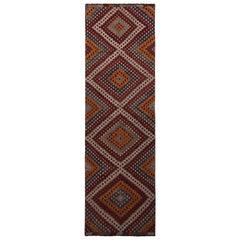 Vintage Midcentury Geometric Diamond Red Orange and Blue Wool Kilim Runner Rug