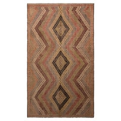 Vintage Midcentury Geometric Green Pink and Beige-Brown Wool Kilim Rug