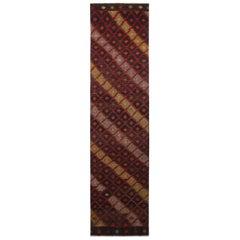 Vintage Midcentury Geometric Red/Black Wool Kilim Rug, Green and Blue Striped