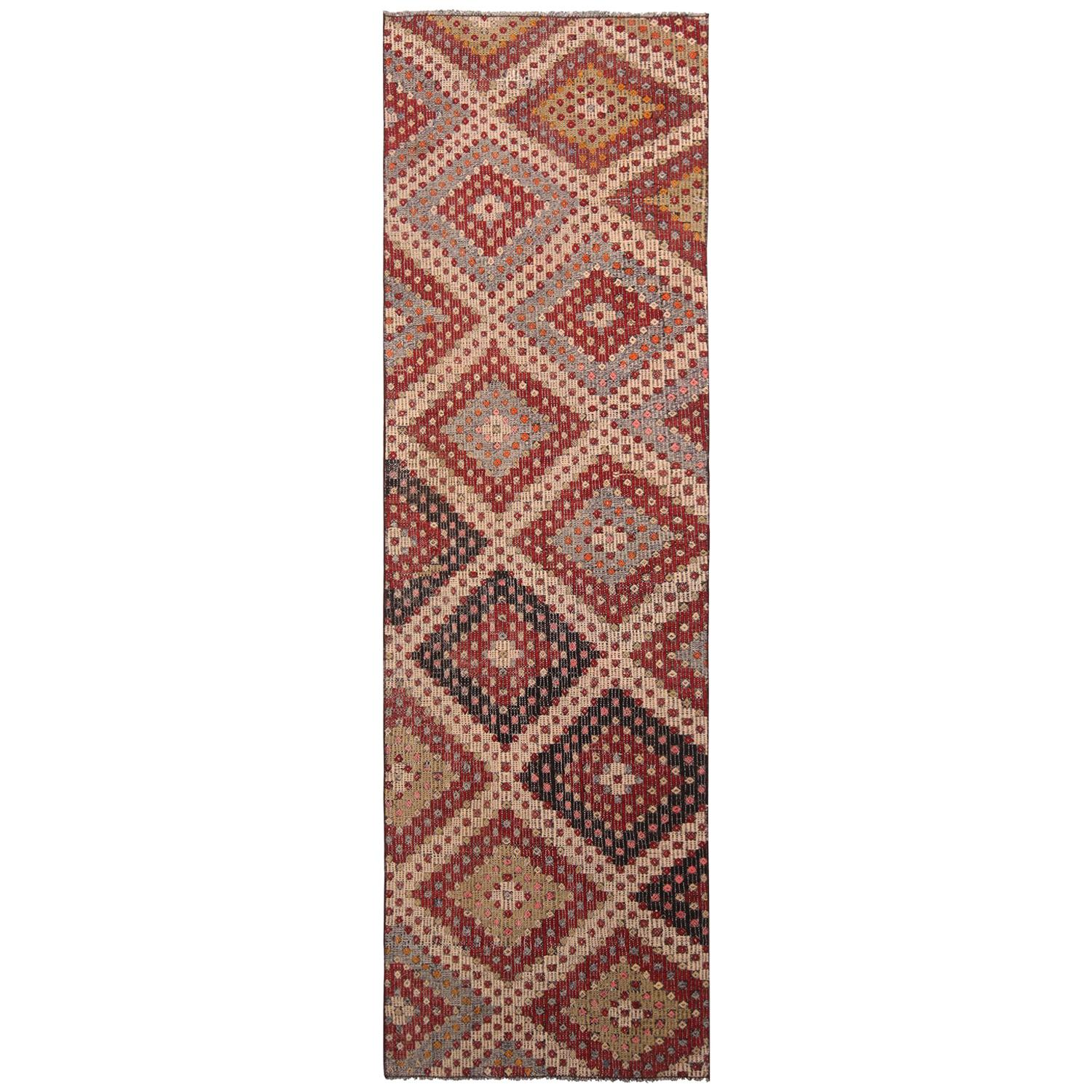 Vintage Midcentury Geometric Red Blue And Green Wool Kilim Rug For Sale At 1stdibs