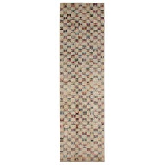 Vintage Midcentury Geometric Tan-Beige Wool Runner, Multi-Color Accents