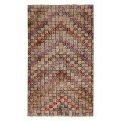 Vintage Midcentury Geometric Wool Rug with Multi-Color Pattern