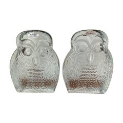 Vintage Midcentury Glass Owl Bookends by Blenko