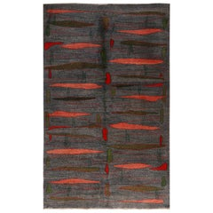 Vintage Midcentury Gray and Pink-Red Geometric Wool Rug with Green Accents