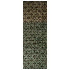 Vintage Midcentury Green and Black Wool Runner